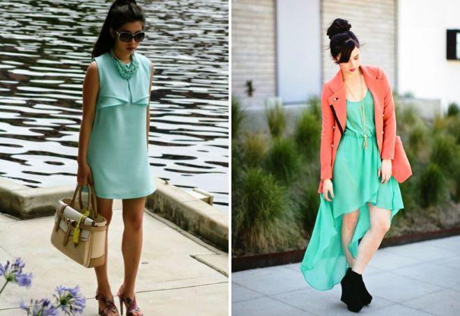с чем носить мятное платье