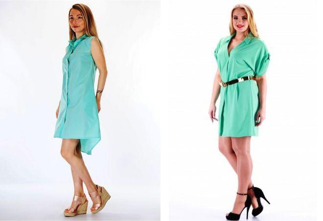 мятное платье рубашка