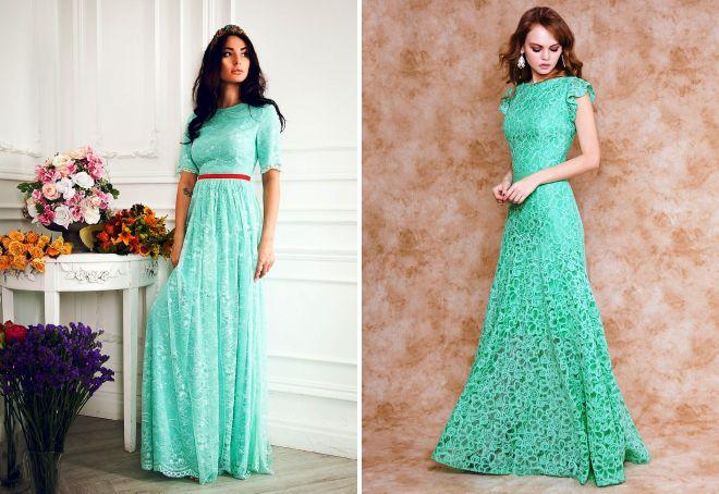 кружевное платье мятного цвета