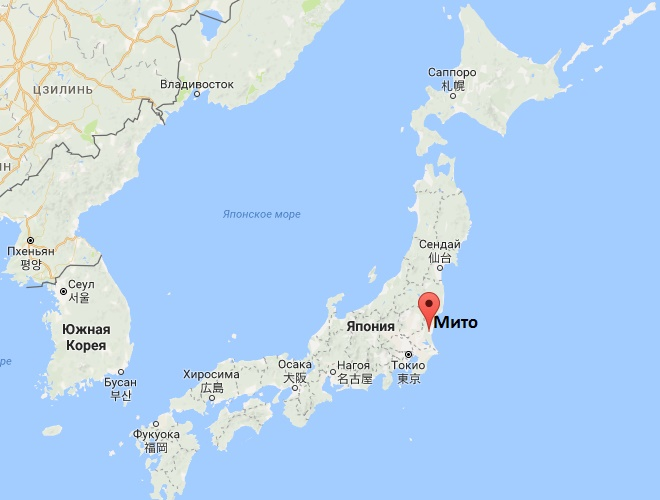Мито на карте Японии