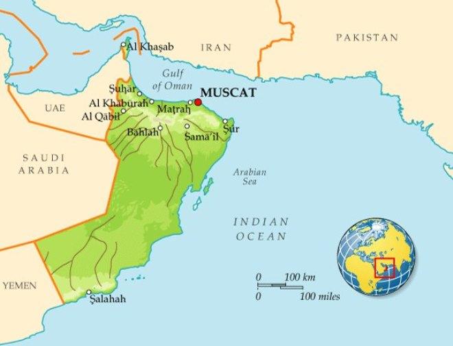 Маскат на карте мира