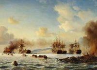 Экспонат, Битва Гран-Порт - картина Антона Melbye 1859