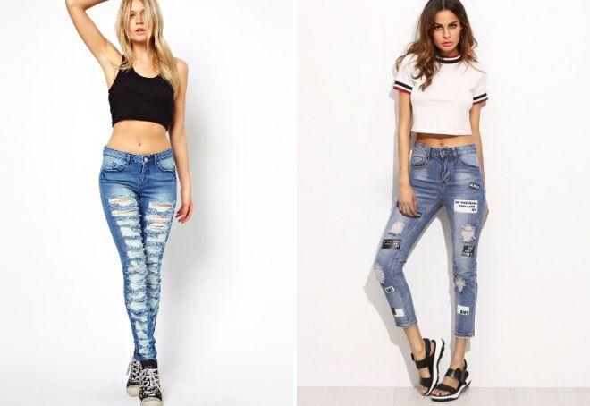 синие узкие женские джинсы
