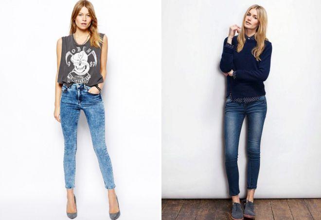 короткие узкие джинсы