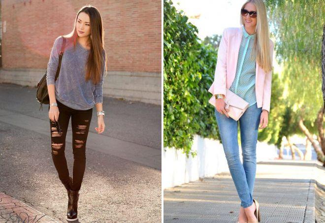 с чем носить узкие черные джинсы