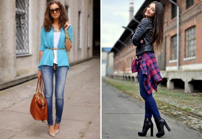 рубашка с узкими джинсами