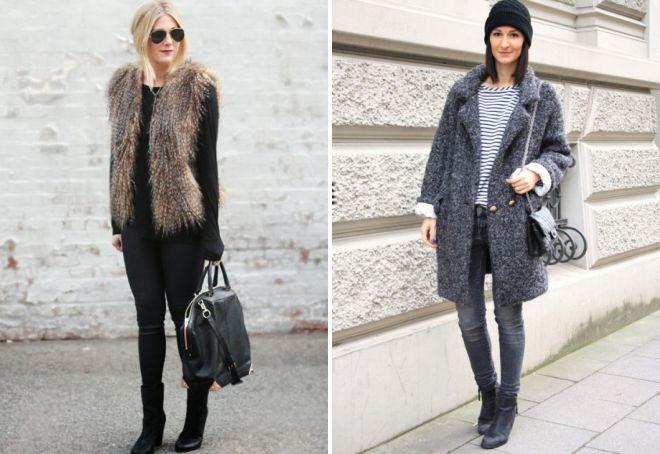 с чем носить узкие джинсы зимой