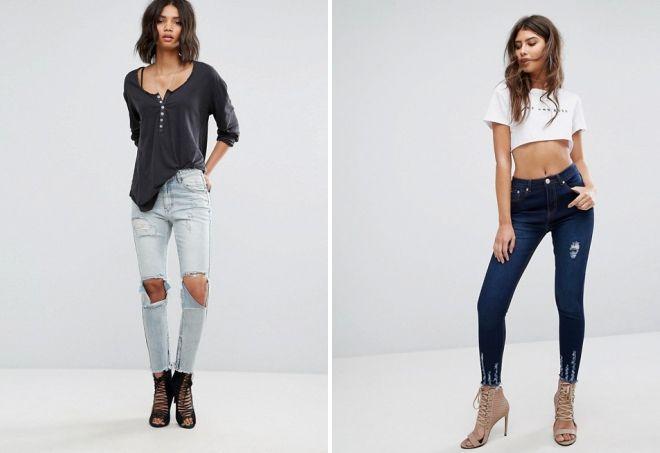 модные зауженные джинсы