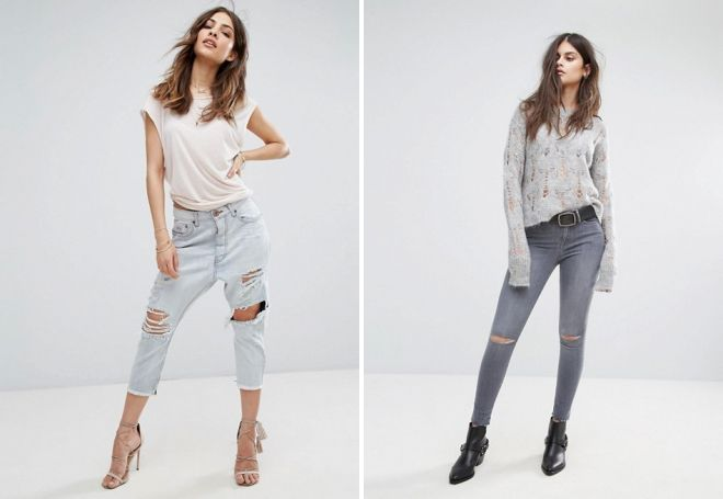 женские зауженные джинсы