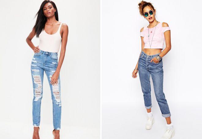 зауженные женские джинсы с высокой посадкой