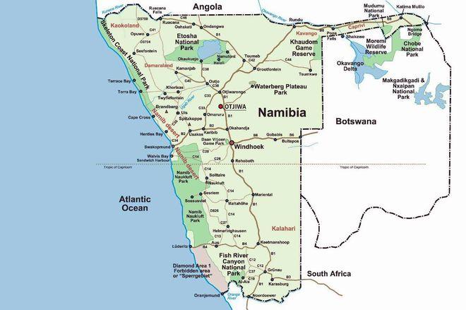 Карта национальных парков Намибии