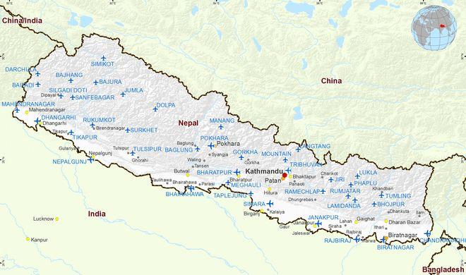 Аэропорты Непала на карте