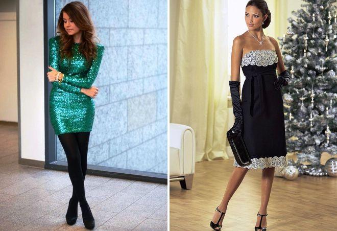 модный новогодний образ с платьем