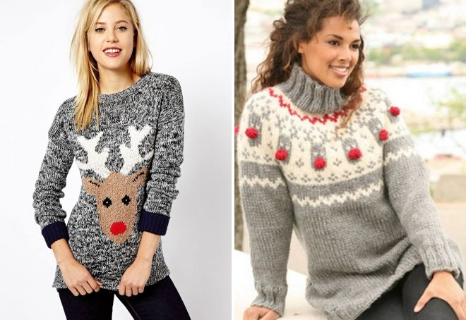 вязаные новогодние свитера