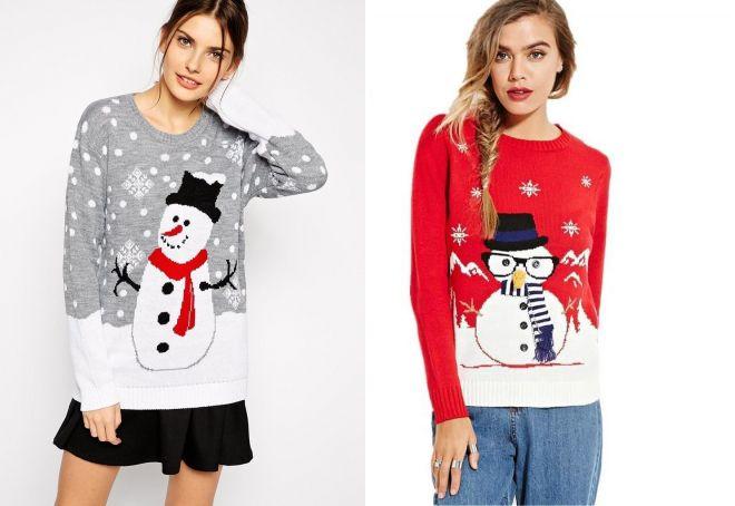 новогодние свитера со снеговиком