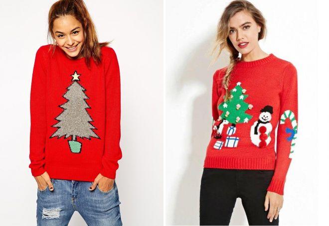 свитер на Новый Год с елкой