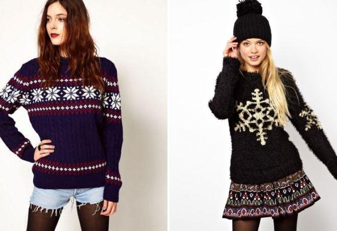 новогодние свитера со снежинками
