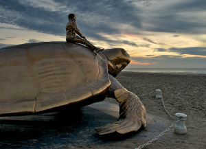 Гигантская черепаха на пляже