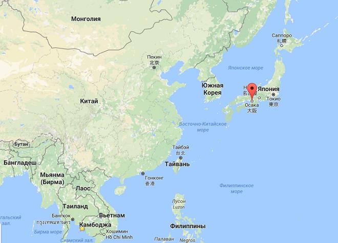 Осака на карте