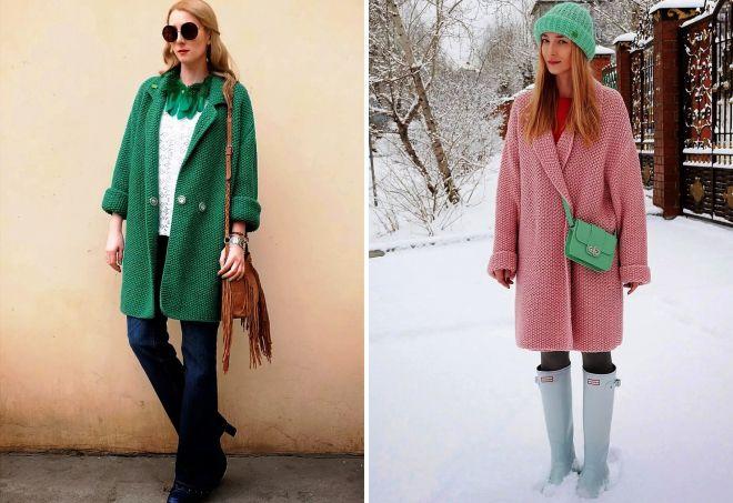 вязаное пальто оверсайз