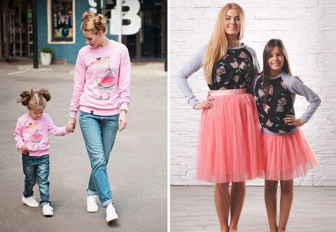 идентични пуловери за майка и дъщеря