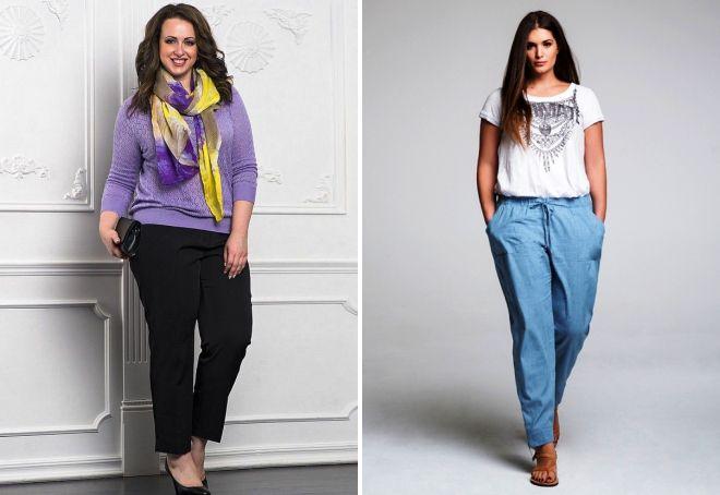 зауженные брюки для полных женщин