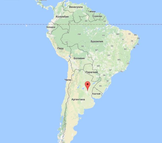 Парана на карте Южной Америки