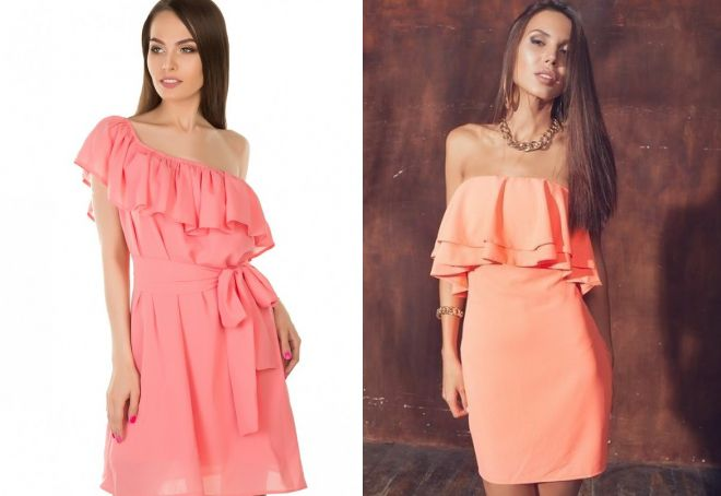 короткое персиковое платье