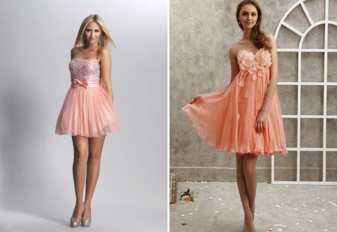 персиковое коктейльное платье