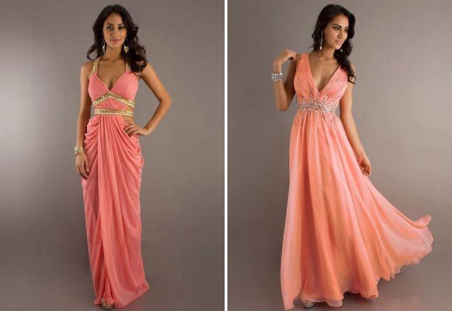 платья в пол персикового цвета