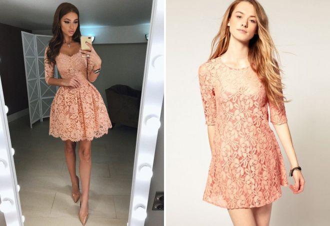 короткие платья персикового цвета