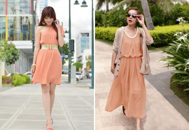 модные персиковые платья