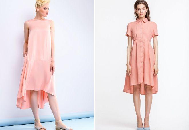 персиковое платье со шлейфом
