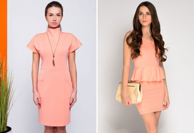 деловое платье персикового цвета