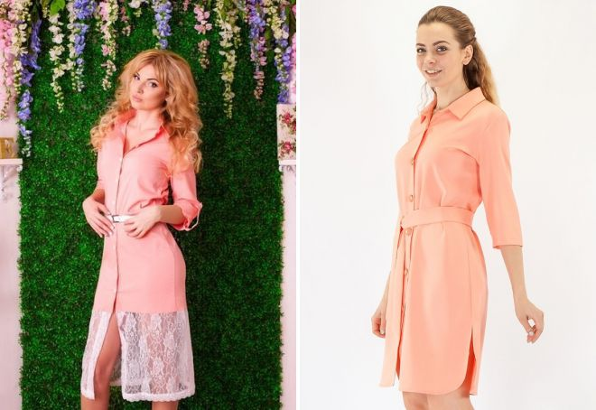 персиковое платье рубашка