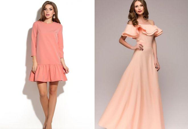 персиковое платье с воланами