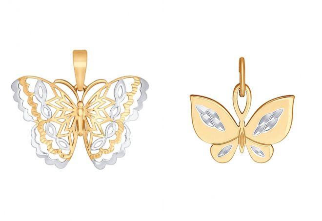 подвеска из золота бабочка