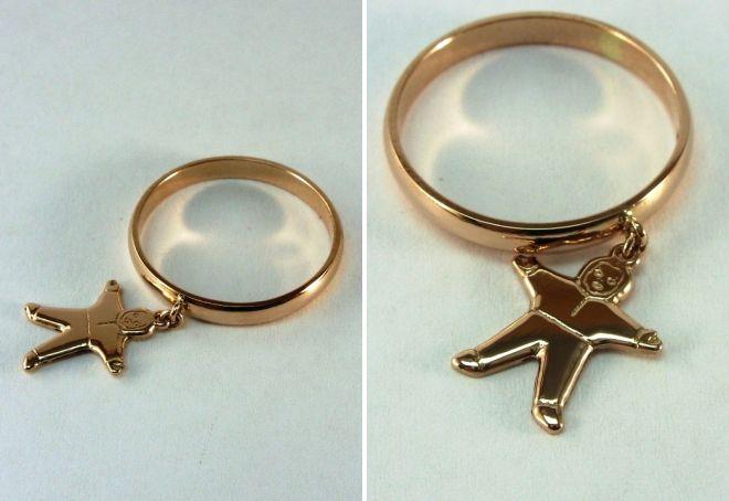 золотая подвеска на кольцо