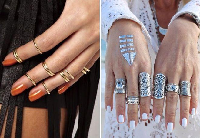 Комплети златних и сребрних фаланчких прстенова