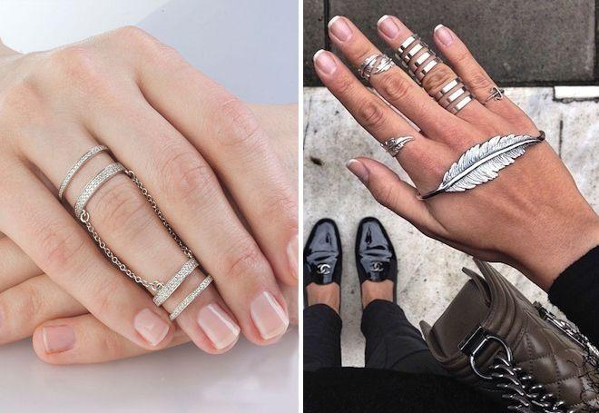 Сребрни прстенови за 2 фаланге