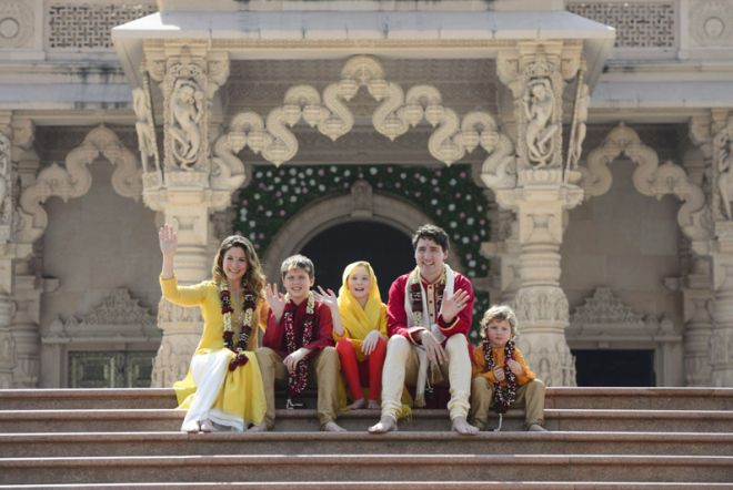 Джастин Трюдо с семьей в Индии