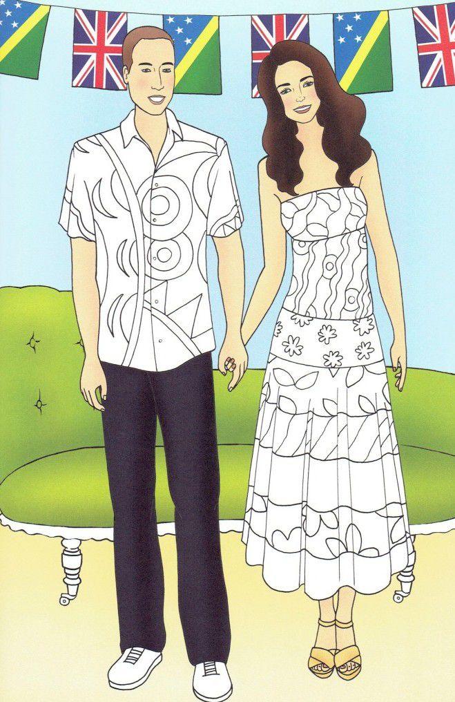 Кейт Миддлтон и принц Уильям стали героями раскраски для детей