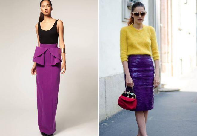 фиолетовая юбка карандаш с баской