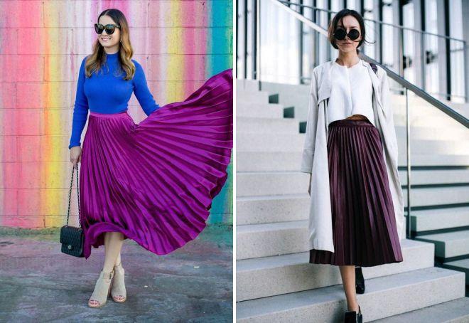 фиолетовая юбка плиссе