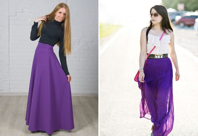 фиолетовая юбка в складку