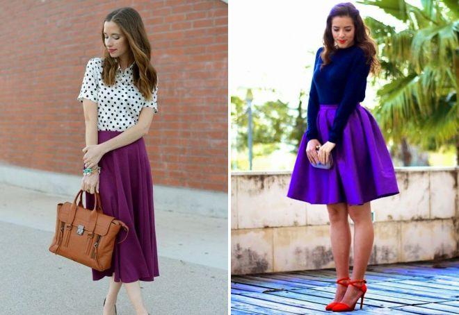 фиолетовая юбка до колен