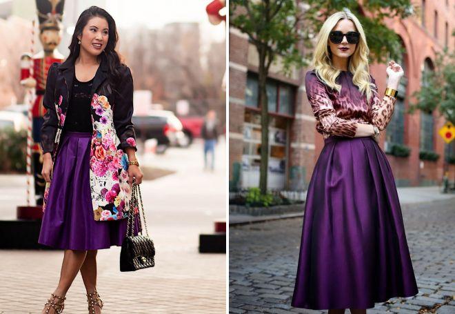образы с фиолетовой юбкой