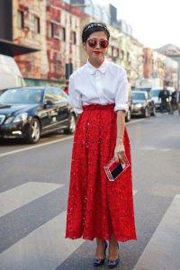 Czerwona długa spódnica 5