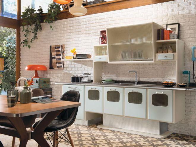 Retro Stylu V Interiéru Obývacího Pokoje Kuchyně Ložnice