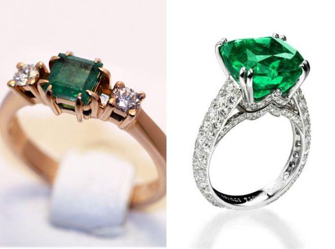 кольцо с квадратным изумрудом